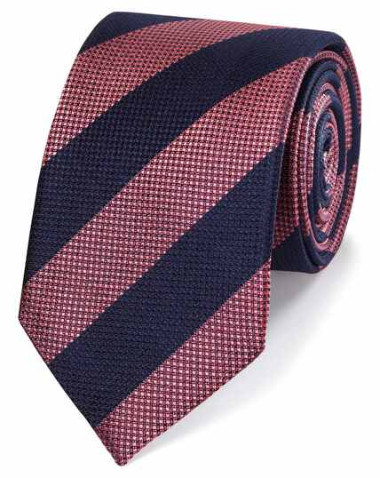 Pink and blue club stripe silk classic tie