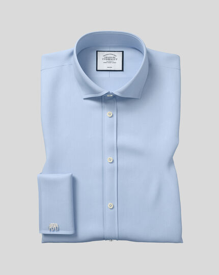 Super slim fit spread collar non-iron twill blue shirt