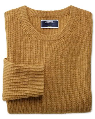 Yellow lambswool rib crew neck sweater