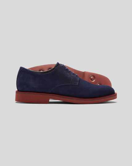 Extra Lightweight Suede Derby Shoe - Blue