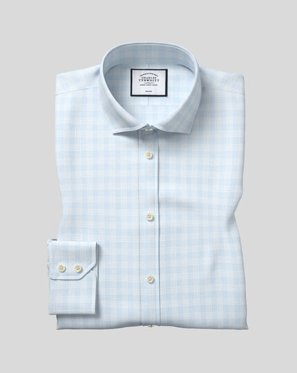 Spread Collar Non-Iron Prince Of Wales Check Shirt - Blue