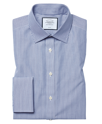 Classic fit non-iron Bengal stripe navy shirt