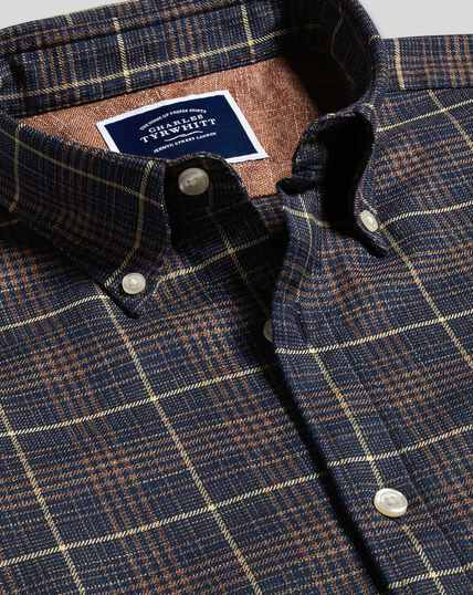 Button-Down Collar Non-Iron Twill Check Shirt - Navy & Gold