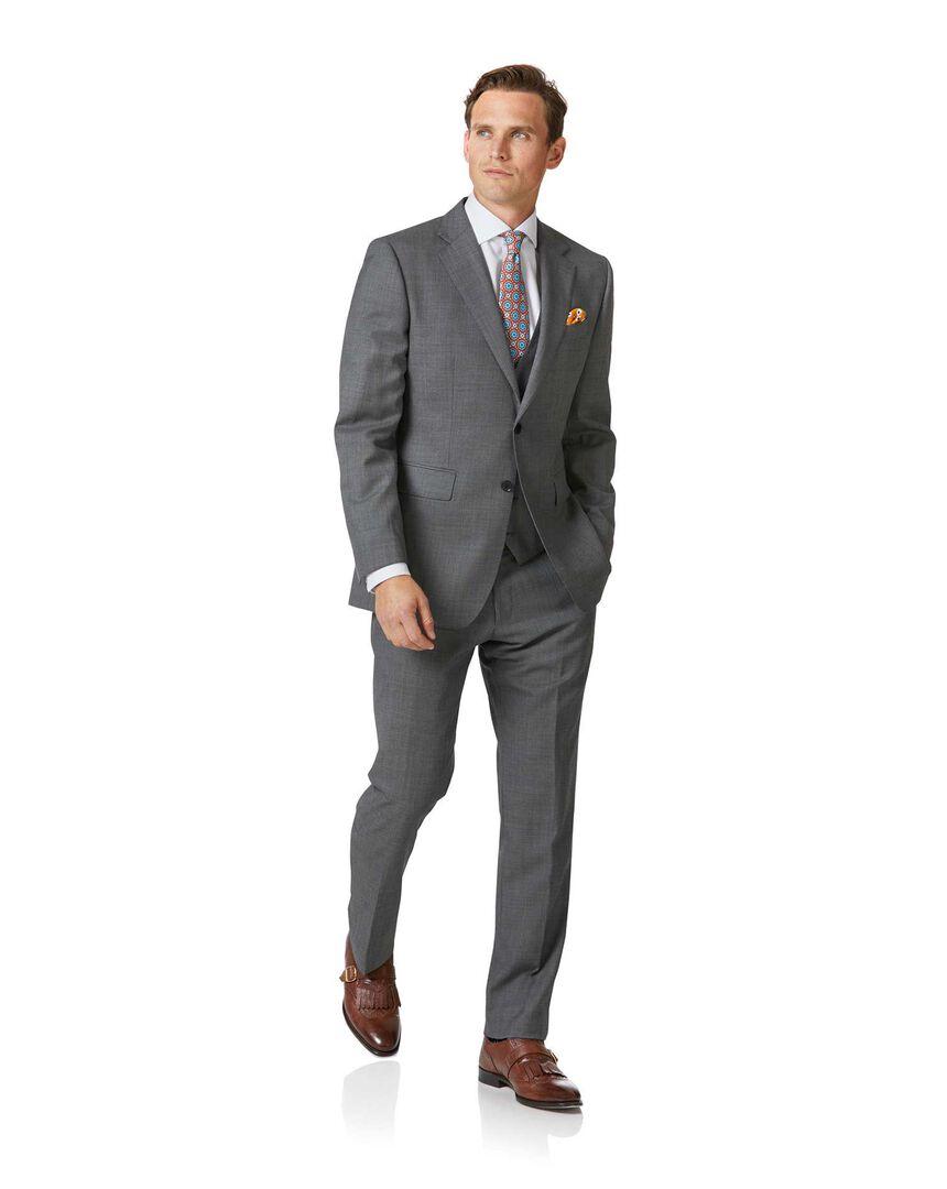Light grey slim fit sharkskin travel suit