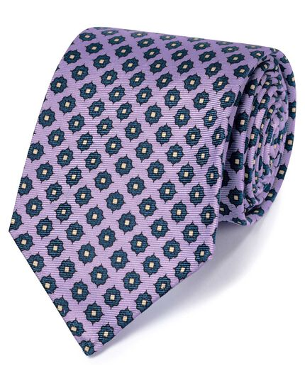 Lilac and navy motif luxury English hand rolled silk tie