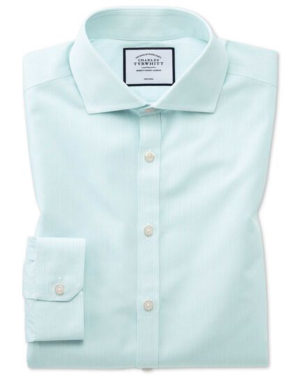 Super slim fit non-iron Tyrwhitt Cool poplin aqua shirt