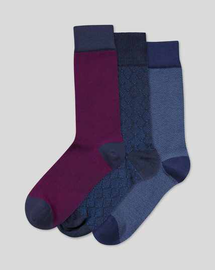 Semi Plain 3 Pack Socks - Pink & Sky