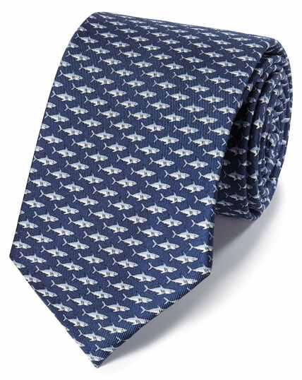 Navy shark print classic tie