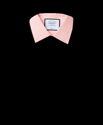Chemise à Petits Losanges et col classique sans repassage - Pêche