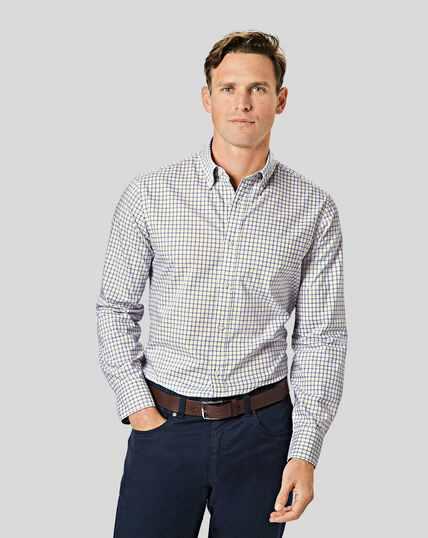 Bügelfreies Popeline-Hemd aus Stretchgewebe mit Button-down-Kragen und Karos- Gelb & Blau