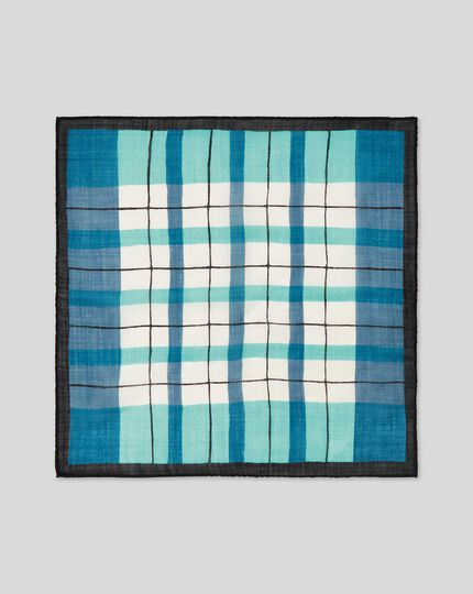 Check Wool Silk Luxury Pocket Square - Navy & Green