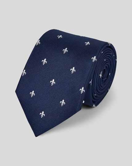 Stain Resistant Silk Fleur-de-lys Tie - Navy