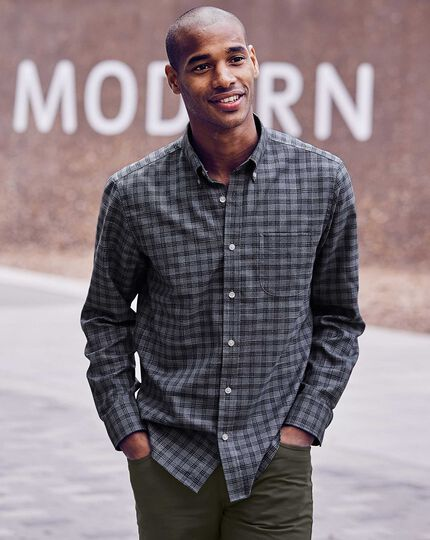 Slim fit grey check soft wash non-iron twill shirt