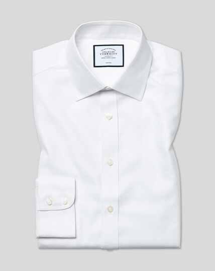 Classic Collar Non-Iron Buckingham Weave Shirt - White