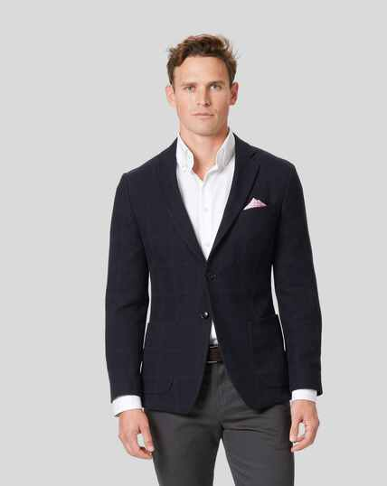 Italian Jersey Check Jacket - Navy