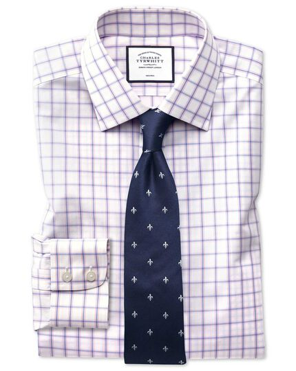Slim fit non-iron multi check blue and pink shirt