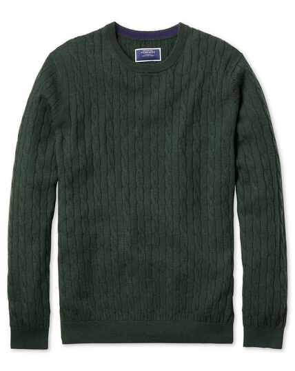 Green crew neck lambswool cable knit sweater