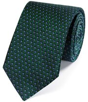 Green and blue silk triangle geometric classic tie