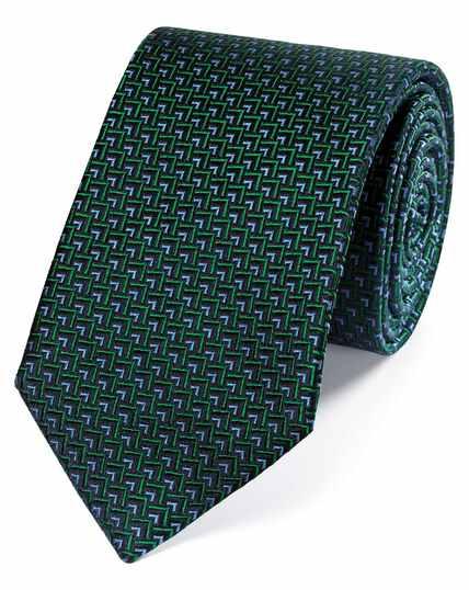 Cravate classique verte et bleue en soie à imprimé géométrique triangles
