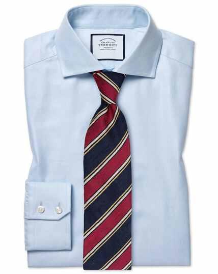 Blauw stretchkatoenen overhemd met Tencel™ en cutaway-kraag, extra slanke pasvorm