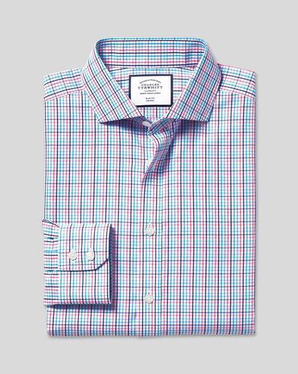 Cutaway Collar Non-Iron Tyrwhitt Cool Poplin Check Shirt - Pink