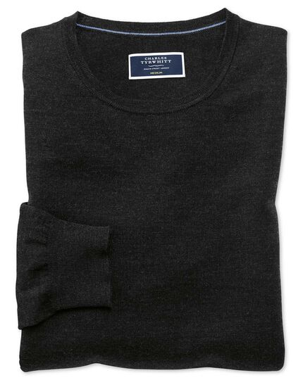 Dark charcoal merino crew neck jumper