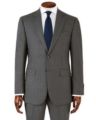 Veste de costume business grise en twill slim fit à rayures
