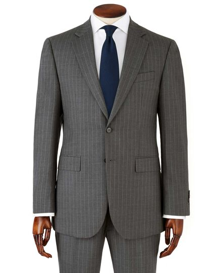 Grey stripe slim fit twill business suit jacket