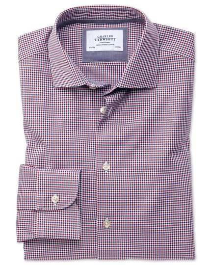 Slim fit semi-cutaway business casual gingham red and navy shirt