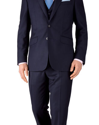 Ink blue slim fit birdseye travel suit
