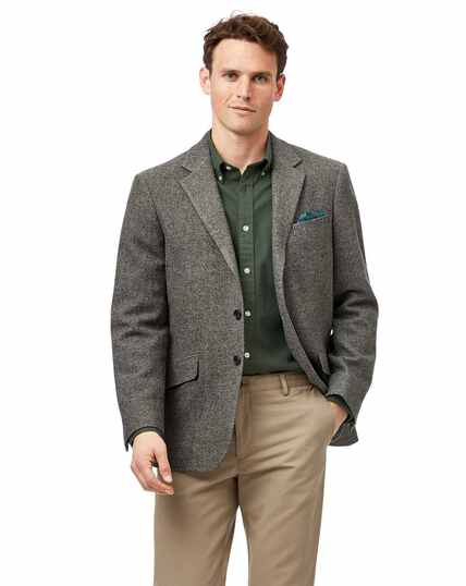 Classic fit light grey semi plain textured wool jacket