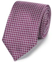 Berry and white silk square lattice classic tie