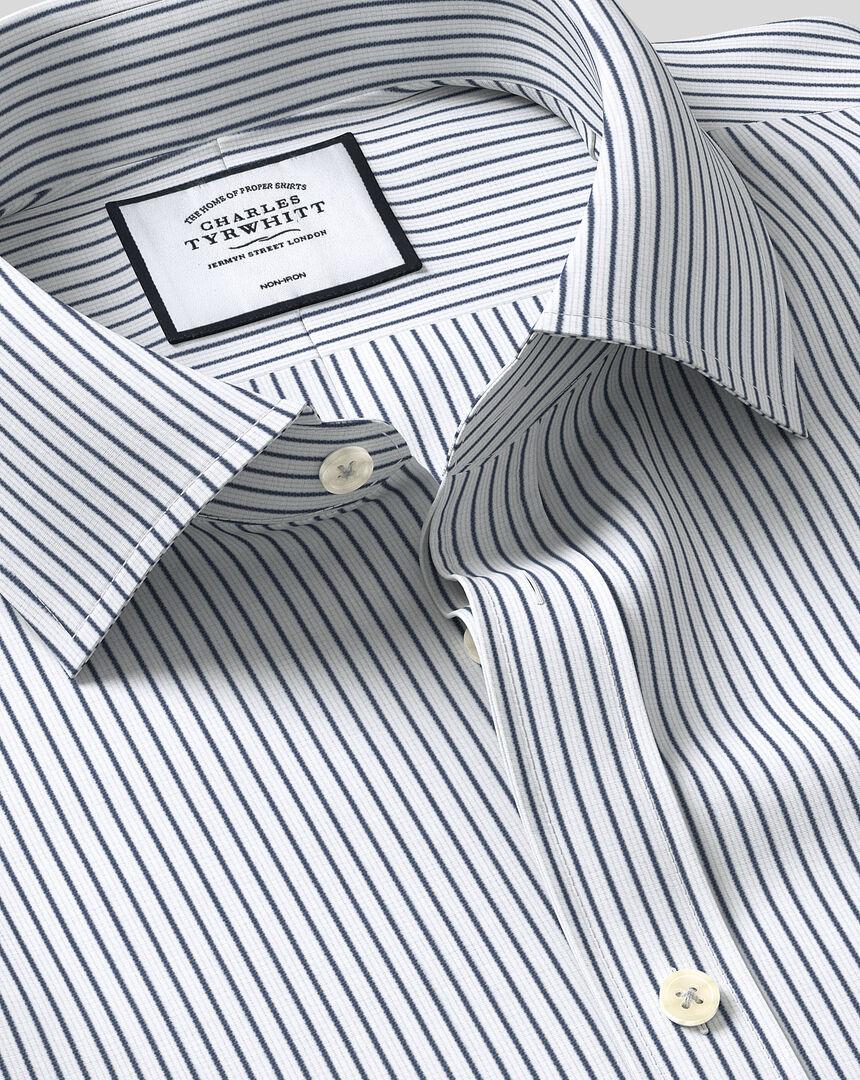 Classic Collar Non-Iron Dobby Stripe Shirt - Navy