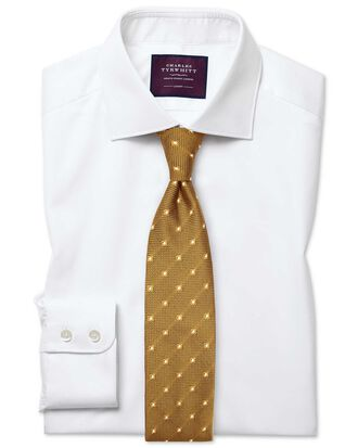 Extra slim fit semi-cutaway luxury twill white shirt