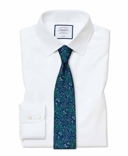 Chemise blanche en twill slim fit sans repassage