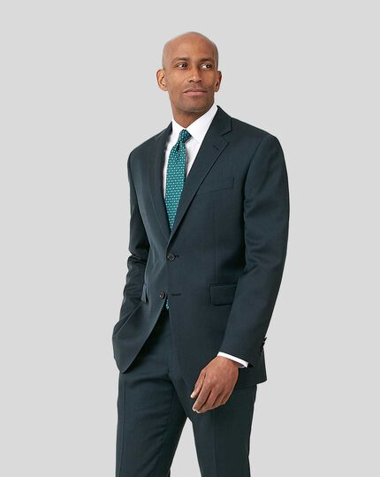 Twill Business Suit Jacket - Teal