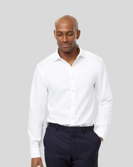 Business Casual Collar Non-Iron Cotton Linen Oxford Shirt - White