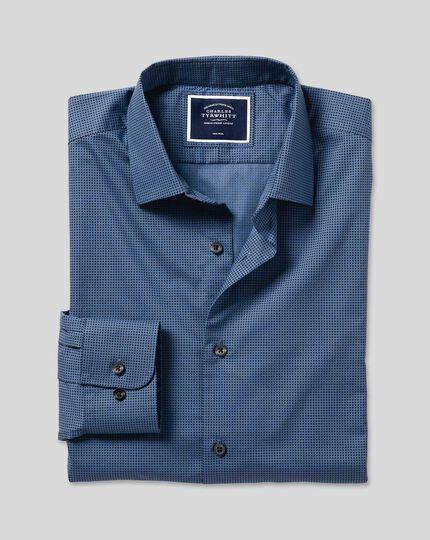 Popeline-Hemd mit Stretch und Mikropunkten - Marineblau