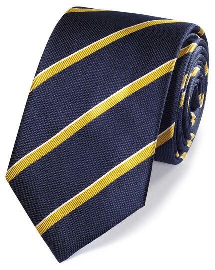 Cravate classique bleu marine et or en soie à rayures au tissu texturé