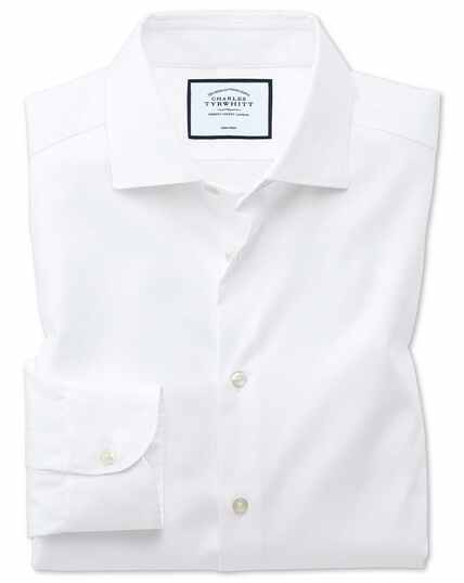 Bügelfreies Classic Fit Business-Casual Hemd in Weiß mit modernen Strukturen