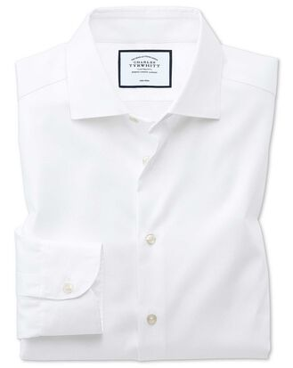 Extra slim fit business casual non-iron modern textures white shirt
