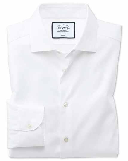 Bügelfreies Extra Slim Fit Business-Casual Hemd in Weiß mit modernen Strukturen