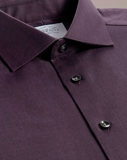 Extra Slim Fit Business-Casual-Hemd aus Royal Oxford in Beerenrot