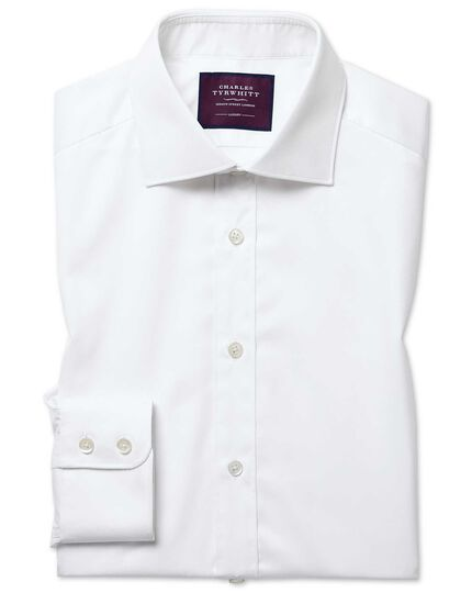 Extra slim fit white luxury twill shirt