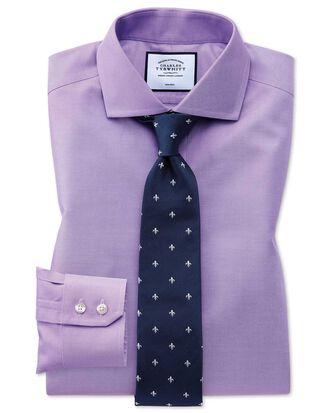 Extra slim fit non-iron cutaway collar lilac twill shirt
