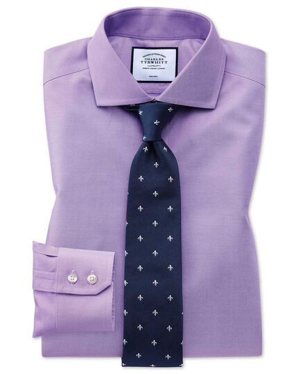 Extra slim fit non-iron spread collar lilac twill shirt