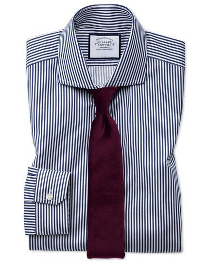 Super slim fit non-iron spread collar navy twill stripe shirt