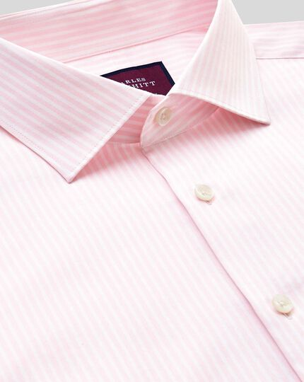 Semi-cutaway Collar Luxury Stripe Shirt- Pink
