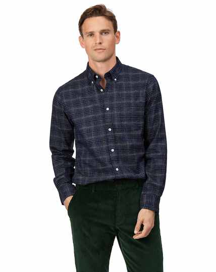 Slim fit soft washed non-iron twill navy grid check shirt