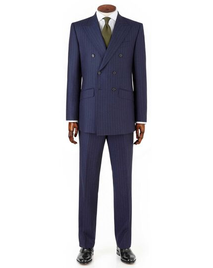 Navy stripe slim fit saxony double breasted business suit jacket